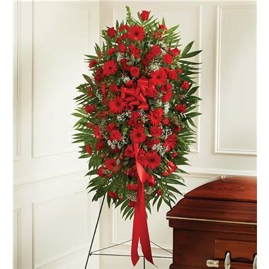 red mixed sympathy standing spray | 1 800 flowers 4 gift