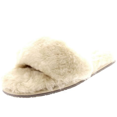 open toed slippers womens genuine australian sheepskin mules open toe fur