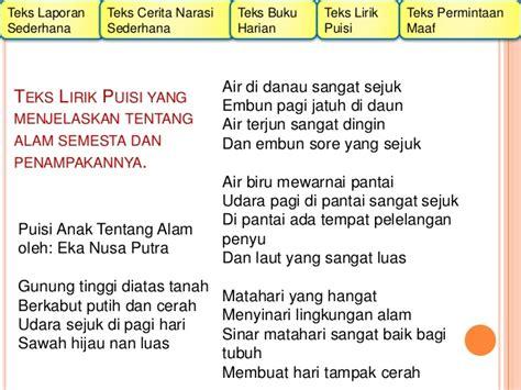 membuat puisi tentang gunung macam macam teks menurut kurikulum 2013 untuk kls 2 sd