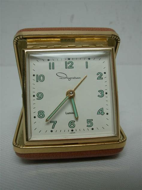 vintage ingraham luminous wind up bedside travel alarm clock 3 quot square ebay