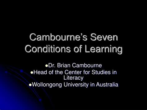 Cambournes Conditions Of Learning Essay by Ppt Cambourne S Seven Conditions Of Learning Powerpoint Presentation Id 975554
