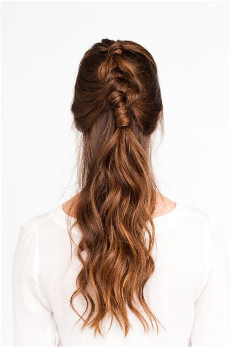 how to up your hair in a pony tail when its layered pony up a half up pony braid hair tutorial paper and stitch