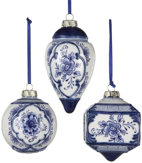 christmas ornaments delft blue and white kurt adler 3 4 5 porcelain delft blue ornament set of 3