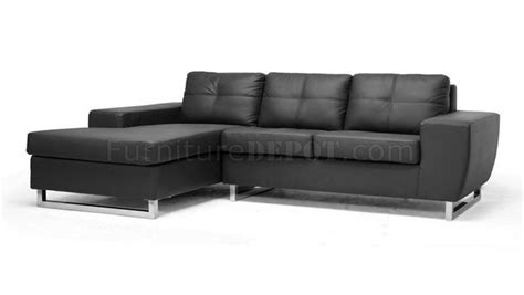 corbin sectional sofa black faux leather by wholesale