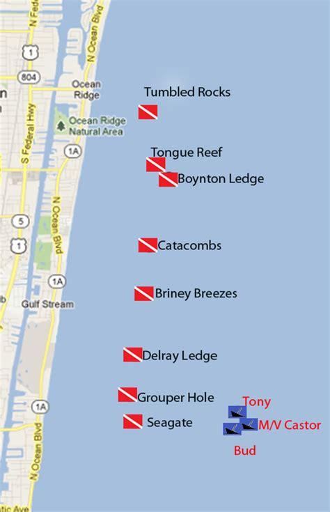 florida reefs and wrecks map boynton dive center trips