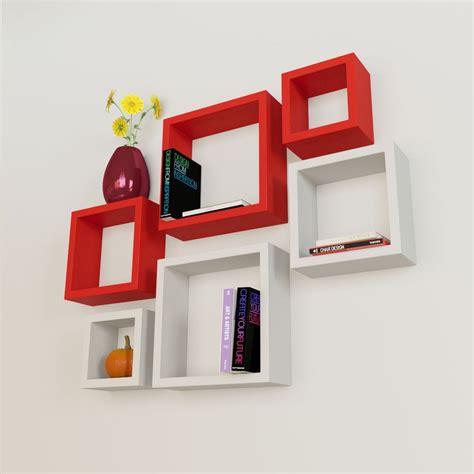 buy home decor 6 nesting square wall shelf rack unit white