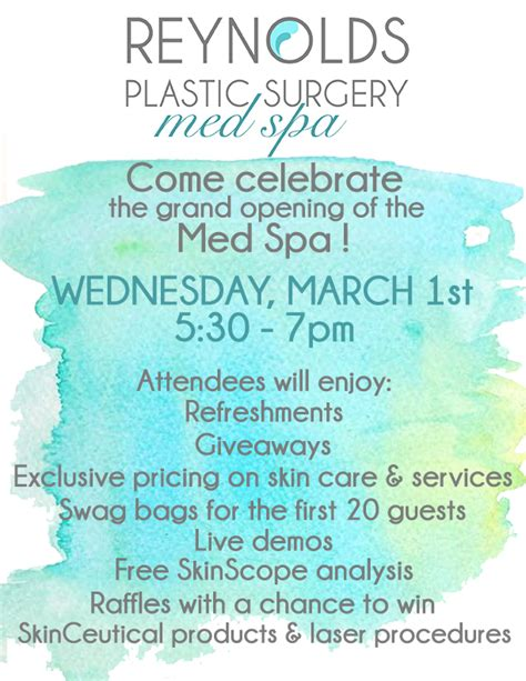 med spa grand opening wednesday march 1 2017 reynolds