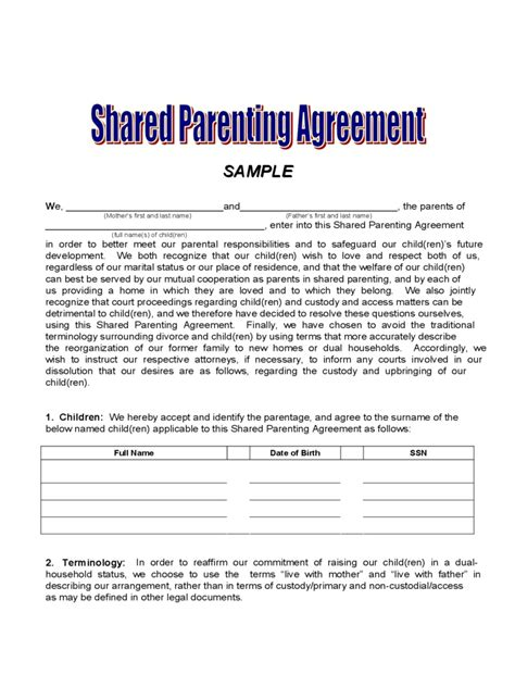 50 50 Custody Agreement Template 50 50 Custody Agreement Template Special Free Resume Templates For Pages Botbuzz Ze T66284