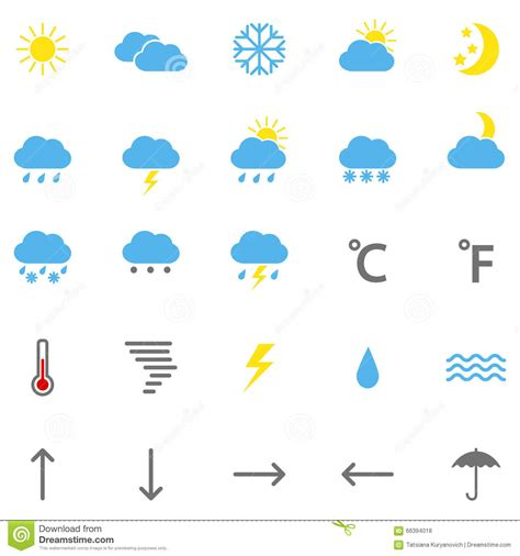 weather color set of color weather icons illustration stock vector