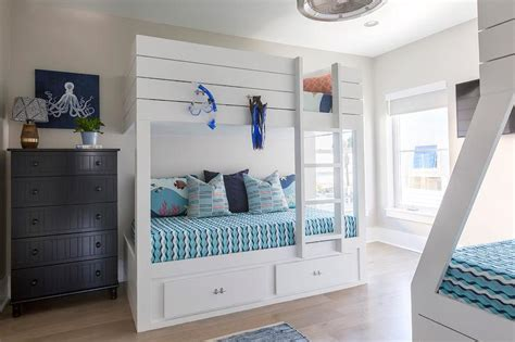 built in bunk beds cottage boy s room hickman design cottage boys bunk room design ideas