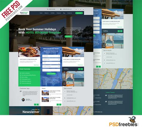 Hotel And Resort Booking Website Template Free Psd Psdfreebies Com Resort Website Template