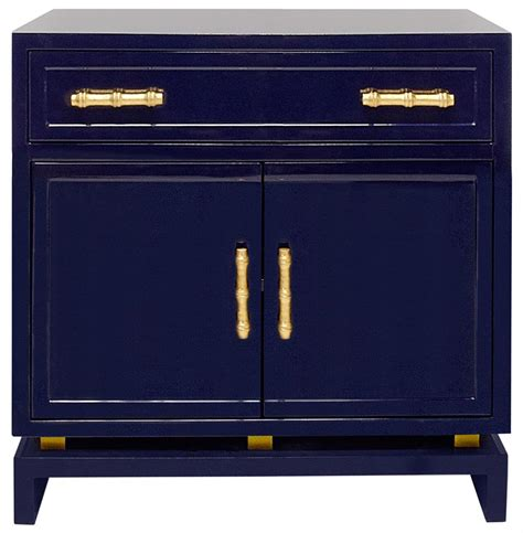 Navy Blue Nightstand by Tracey Regency Navy Blue Lacquer Nightstand Cabinet
