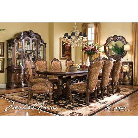 how to set a table with china aico 8pc court rectangular dining table set with