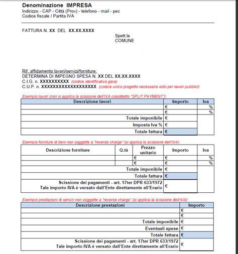 lettere di credito esempio fattura split payment iva esempio modello fac simile e