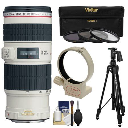 canon ef 70 200mm f/4l is usm zoom lens with tripod + ring