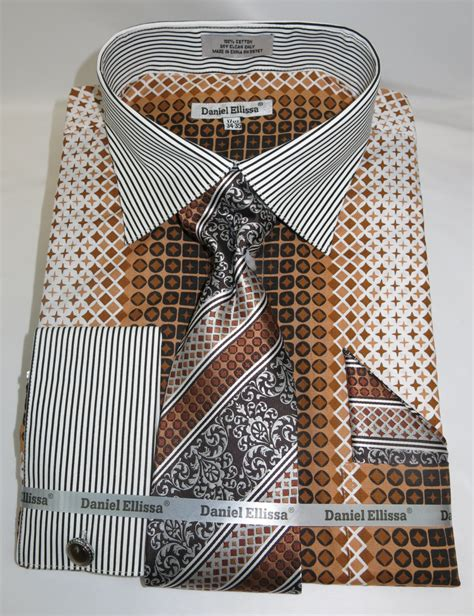 Geometric Pattern In French | daniel ellissa ds3786p2 brown men s french cuff dress