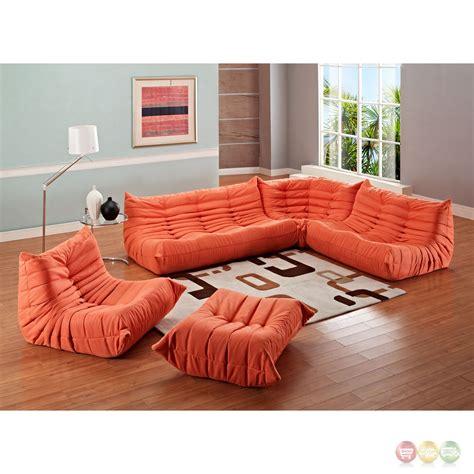 Bean Bag Sectional Furniture Wave Runner Modern 5 Pc Bean Bag Style Sectional Sofa Orange