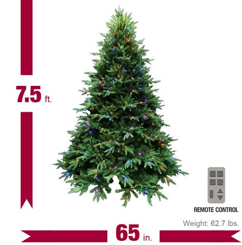 led smart tech lighting tree santa s best 7 5 ft splendor spruce ez power artificial