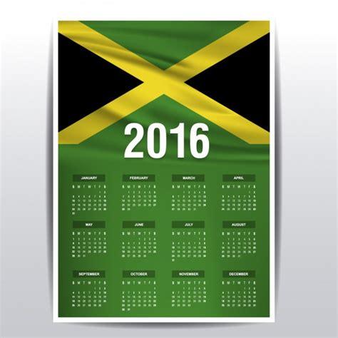 Jamaica Calend 2018 Jamaica Calendar Of 2016 Vector Free