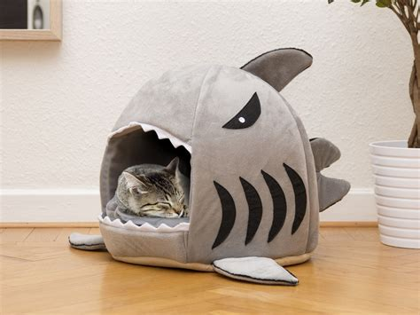 shark cat bed shark pet bed coolstuff com