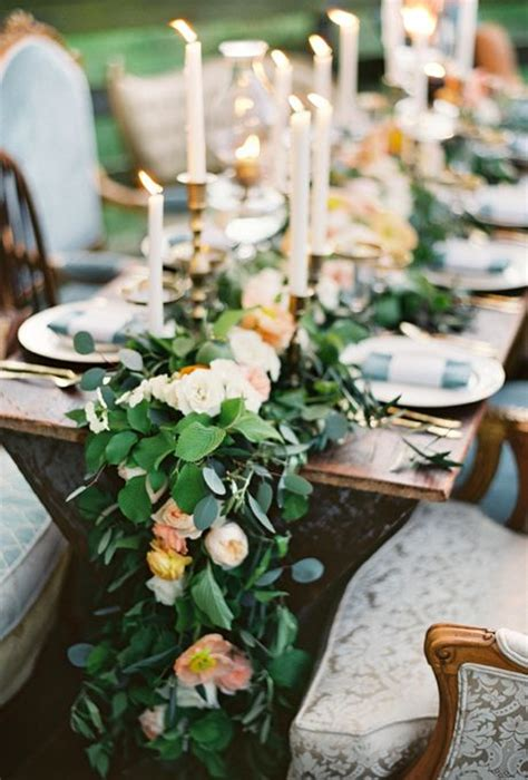 picture of stunning greenery wedding table runners 12