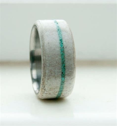 mens wedding band antler and turquoise ring staghead