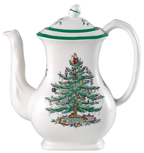 spode christmas tree colour coffee pot lovers of blue