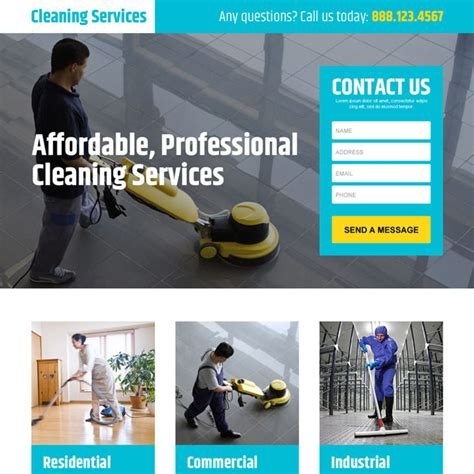 professional and converting cleaning service landing page
