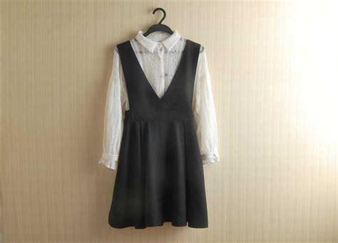 Dress Putih Lengan Panjang Polkadot Hitam Import Korea Fit To L dress lengan panjang putih hitam import model terbaru jual murah import kerja