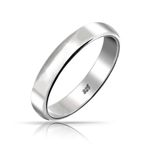 Silver Wedding Bands by 925 Sterling Silver Unisex Wedding Band Ring 4mm