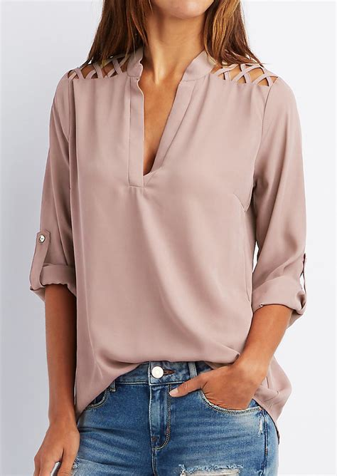 S Sleeve Blouses Uk by Solid Tab Sleeve Hollow Out Blouse Without Necklace
