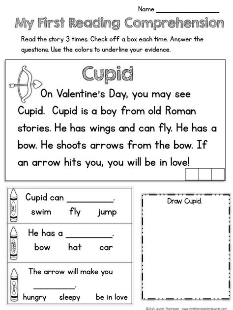 valentines reading comprehension worksheet my reading comprehension free sle from
