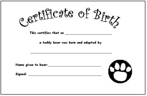 your teddy s certificate of birth teddies nursery