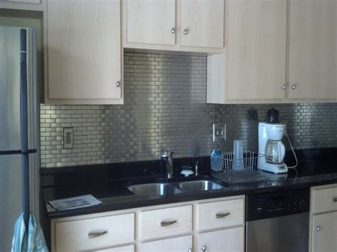 cabinet stainless steel subway tile kitchen