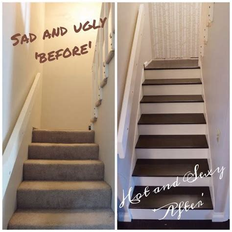 stair makeover carpet to hardwood stairs pinterest