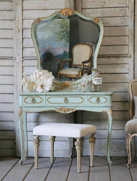 antique vanity table design idea using turquoise paint also completed with cool big mirror
