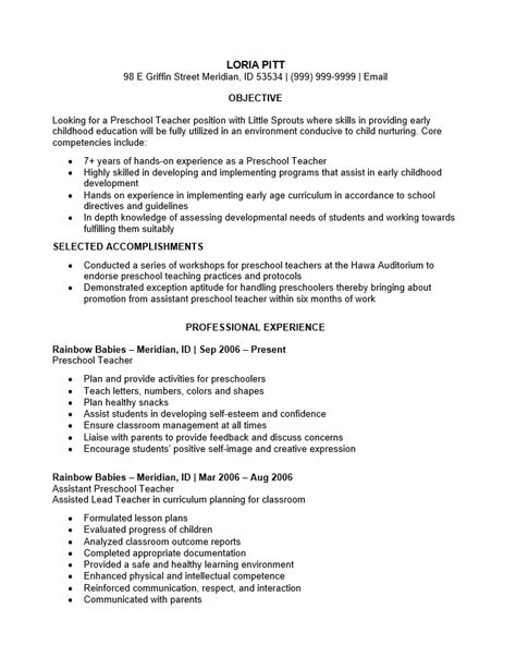 resume for teachers exles sle resume teaching professional