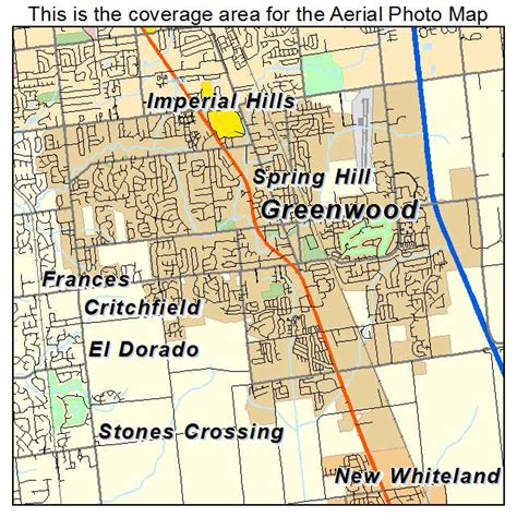 aerial photography map of greenwood in indiana