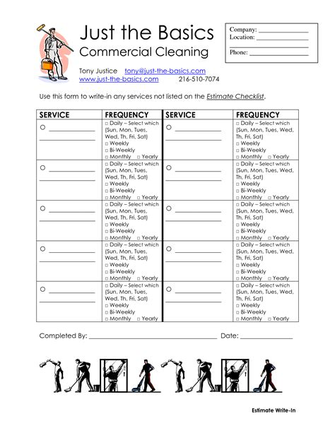 professional cleaning checklist templates 9 best images of service checklist printable house