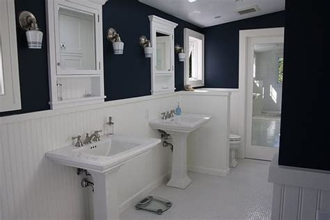 navy and white bathroom navy bathroom white wainscoting home decor pinterest