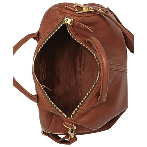 Fossil Leather lyst fossil erin leather satchel in brown