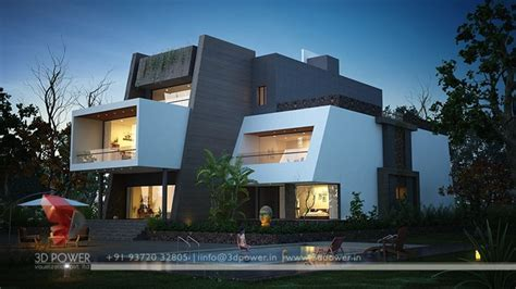 ultra modern day  night rendering  elevation design   power threed power