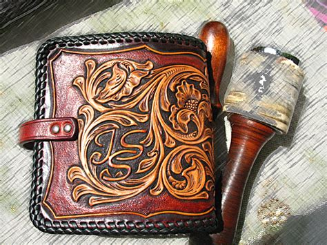 Handmade Western Leather Wallets - custom made tooled carved handmade vegetable tanned