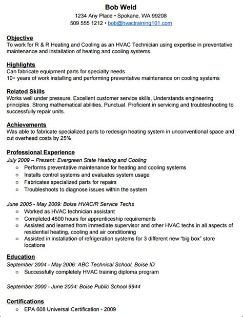 How To Create A Standout Hvac Resume With Exle Resume Hvac Technician Resume Template