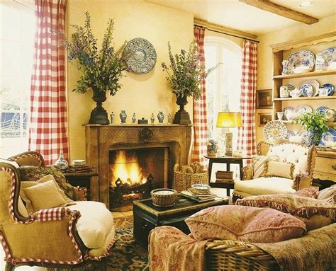 french country livingroom yellow with red check custom design interior