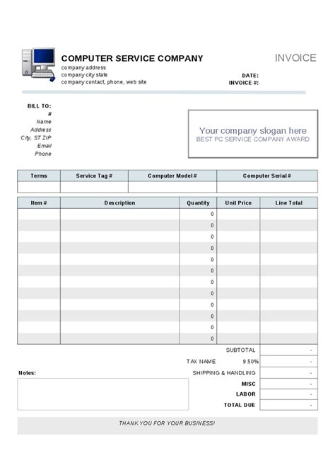 computer repair invoice template image gallery invoice phone