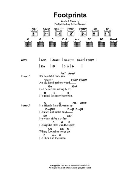 my lyrics paul mc footprints sheet by paul mccartney lyrics chords