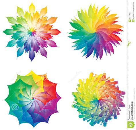 un insieme di fiori insieme delle ruote di colore cerchi dei colori arcobaleno