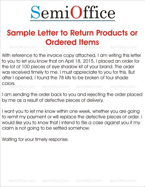 Sle Letter For Product Return Sle Letter To Return Products Or Ordered Items