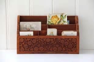 Desk Mail Organizer Carved Wooden Desk Organizer Office Decor Mail Storage